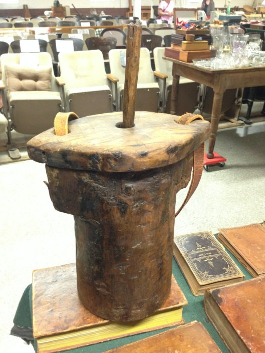 Tar bucket made from a log. Perfect for some traditional types of corporal punishment