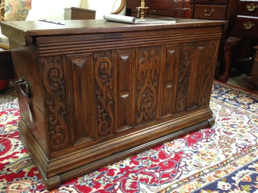 Alleged 18th century French chest. It's carved, too.