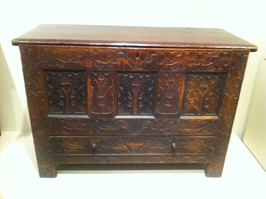 An older carved chest.