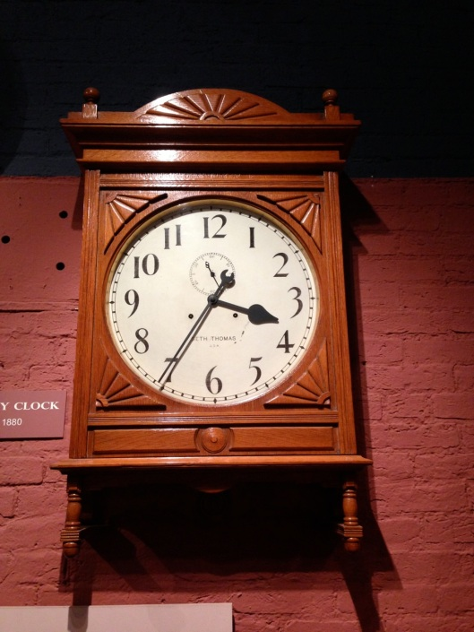 An 1880 railroad clock.