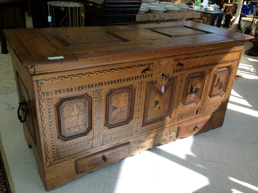 An interesting veneered chest. Click to see an unique hinge.
