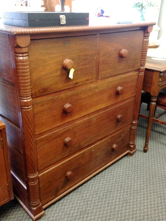 Another migratory piece of furniture. Click for the dovetailed drawer.