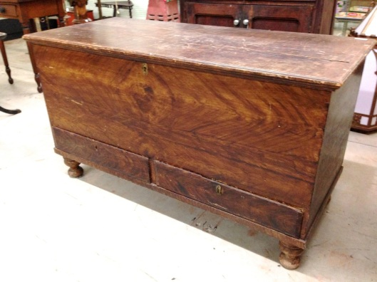The chest. The mule chest has two drawers. I have been told this is a Pennsylvania form.  And I believe everything I am told.