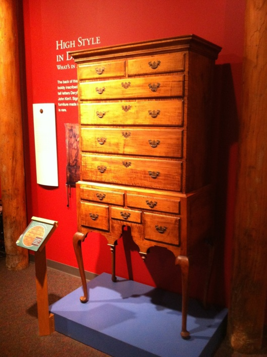 A Queen Anne chest of drawers drawers as an example of regional furniture. Up here, not all furniture is dark brown.