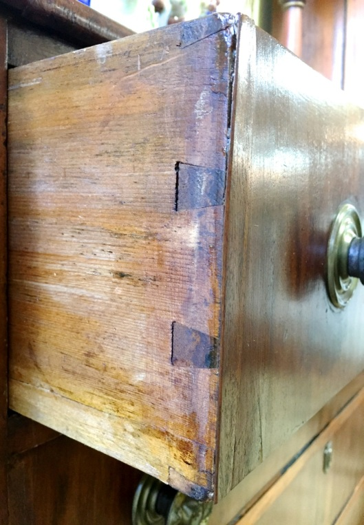 Through dovetails on drawer fronts.