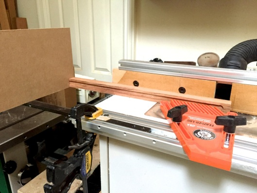 The miter gauge from my table saw clamped in the miter slot.