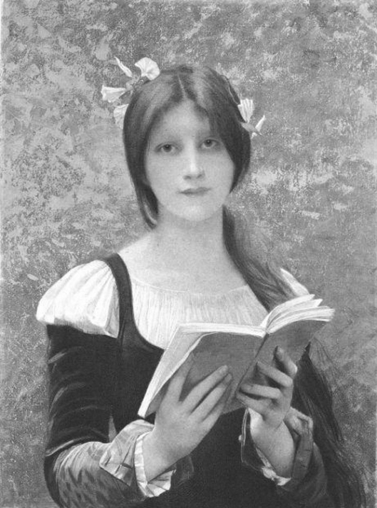 La Liseuse,  Jules-Joseph Lefebvre. It is either in black and white or somebody turned the saturation way down
